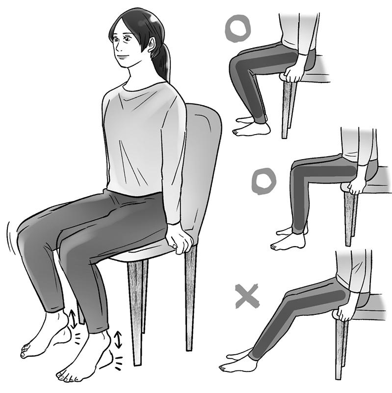 椅子に腰かけた女性がかかとを上下させているイラスト