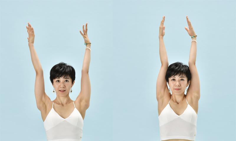 腕を上げるとき、首の長さを保ちつつ、鎖骨を開くように意識を(写真左)。肩も一緒に持ち上げると、肩こりにつながってしまうのでNG(写真右)。