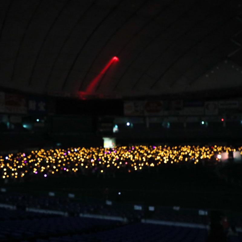 LEDライトが幻想的に光る東京ドーム