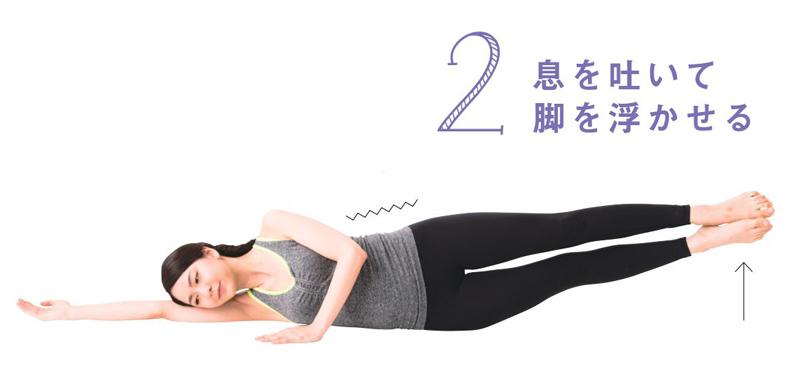 ゆっくりと息を吐きながら、両脚をふわっと床から浮かせ、可能なところまで持ち上げる