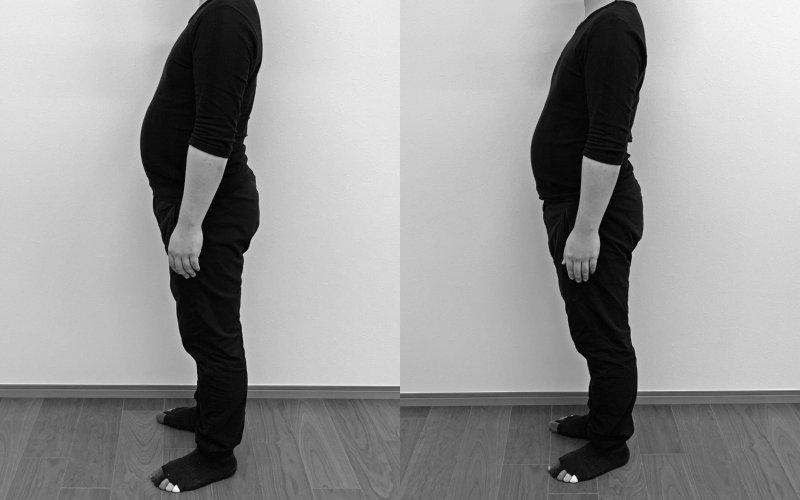 32才男性のダイエットビフォアアフターの体形