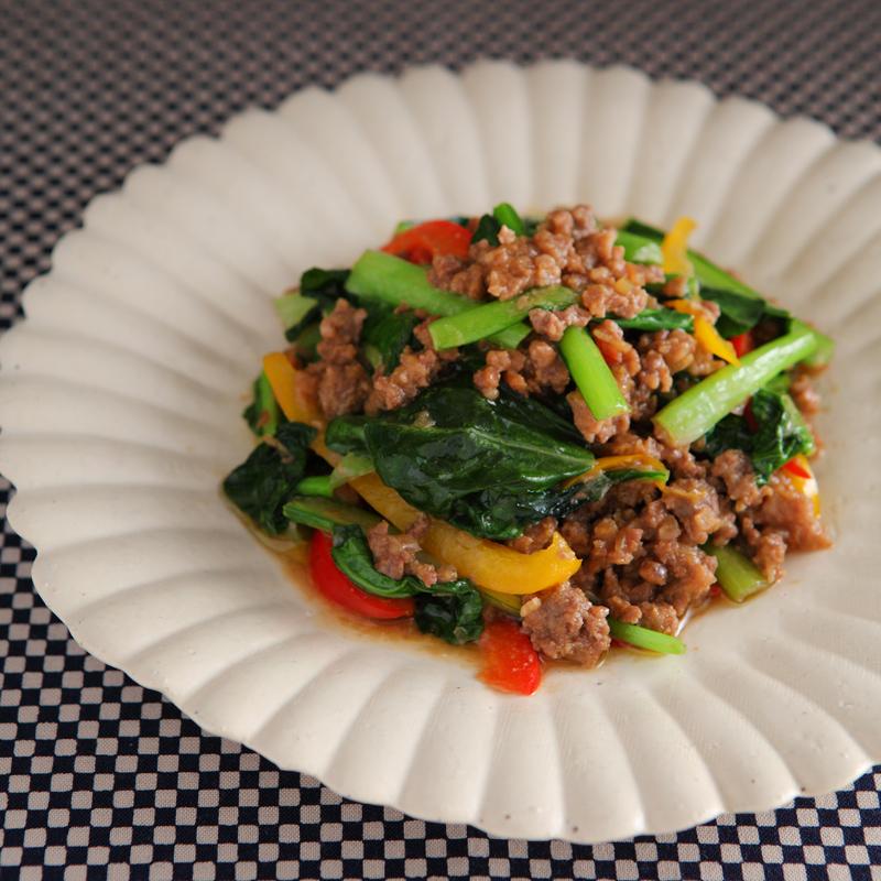 小松菜を使った「そぼろ味噌炒め」