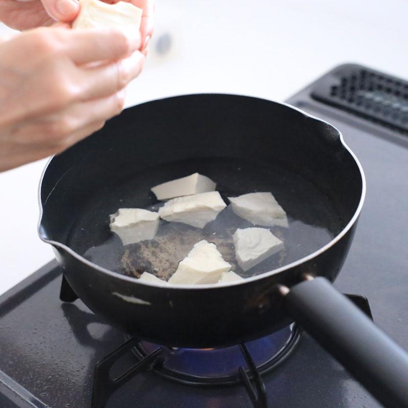 鍋に入れた豆腐