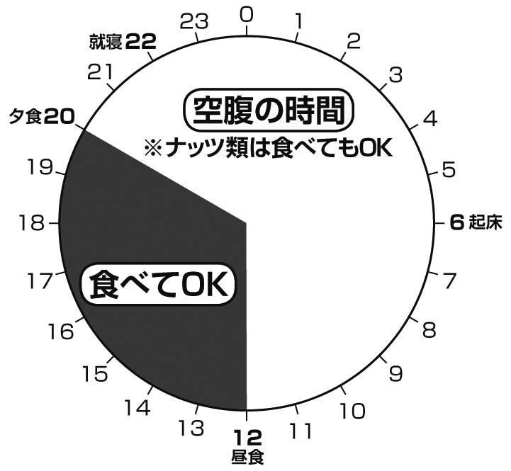仕事をする人におすすめの1日の円グラフ。12時から20時が食べてOKな時間帯。