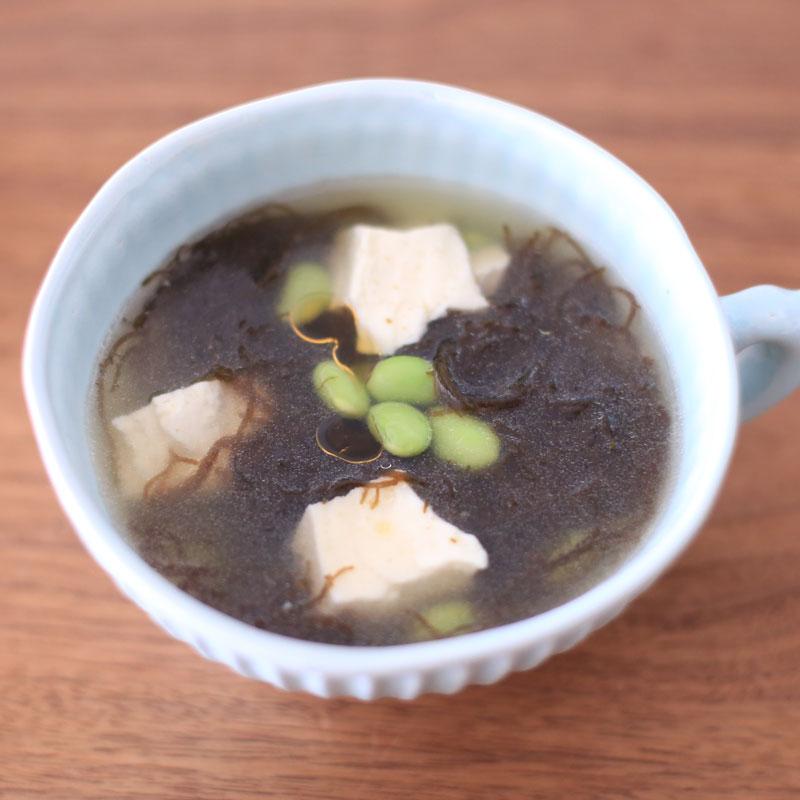枝豆ともずくのスープ