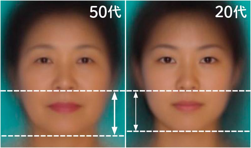 10代女性と50代女性の平均顔の写真を並べて比較している