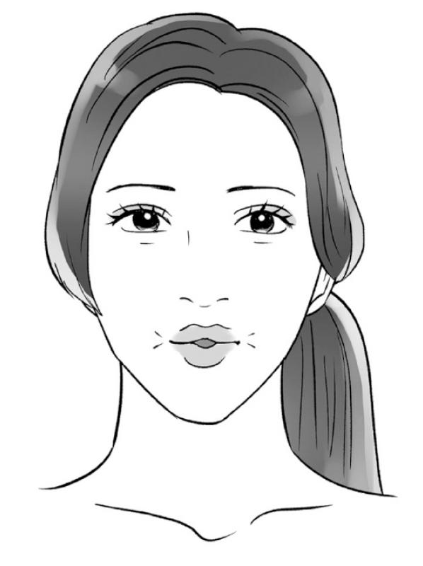 口をすぼめて突き出している女性のイラスト