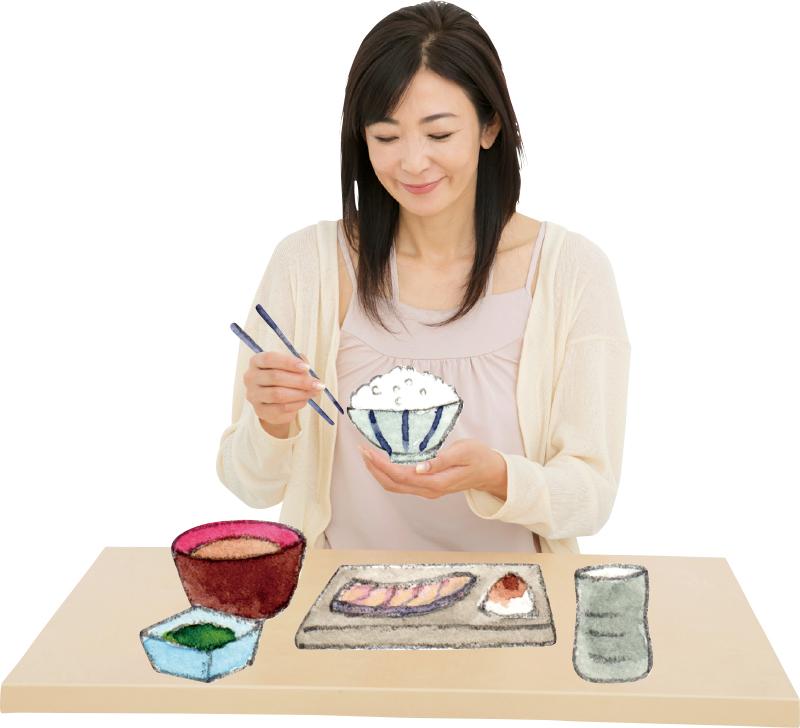 ごはん茶碗を持つ中島史恵