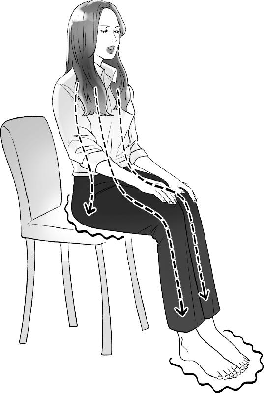 椅子に浅く腰かけ、足裏を床にしっかりつけて呼吸する女性のイラスト