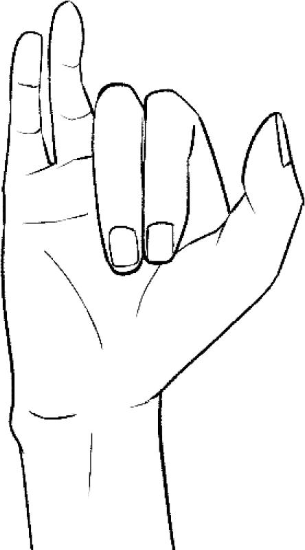 右手の人差し指と中指、薬指と小指をくっつけ、人差し指と中指を折り曲げたイラスト