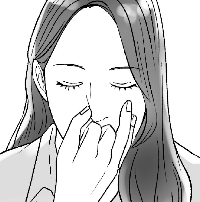 指を左鼻の前に置いた後、親指で右の鼻孔を押さえ、左の鼻から息を吸い込む女性のイラスト
