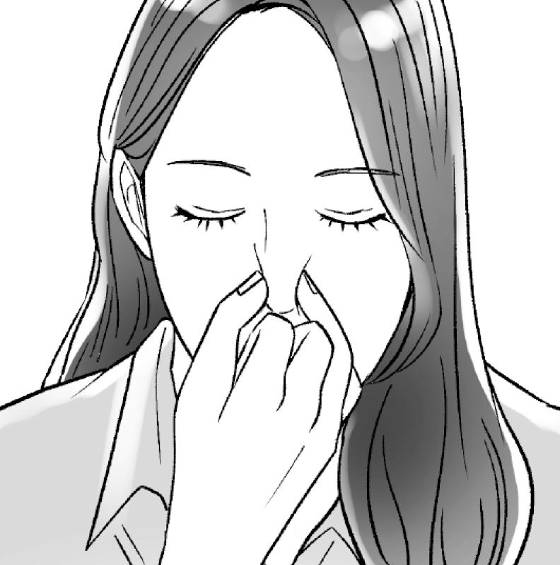 親指を右の鼻孔に置いたまま、薬指で左の鼻孔も押さえる女性のイラスト