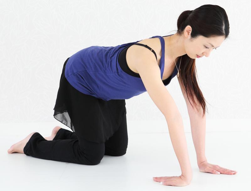 四つん這いになり、腕の内側を外に向け、指先が体の方に向くようにする女性