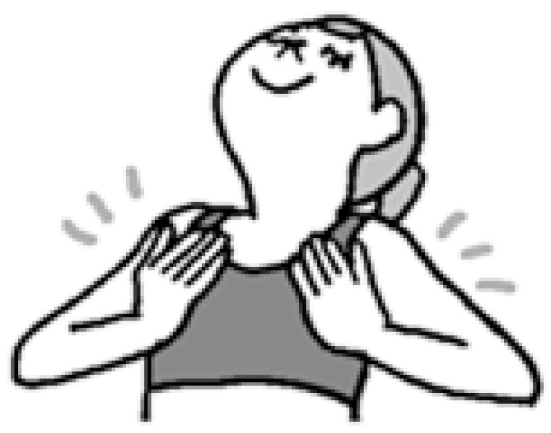 鎖骨の下あたりに手を置き、胸全体を広げるように上体を反った女性イラスト