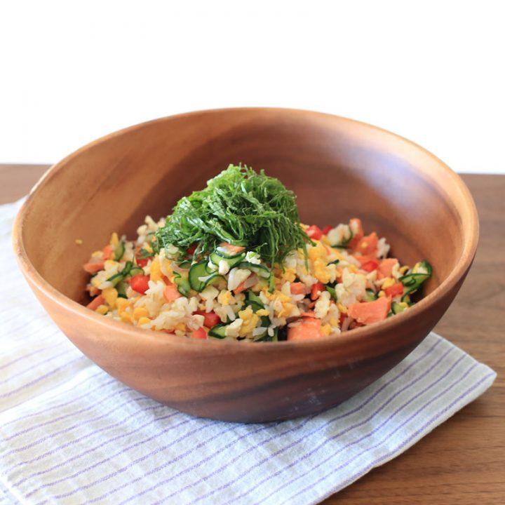 市橋有里がレシピを考案した「鮭と卵と豆腐の高たんぱくちらし寿司」