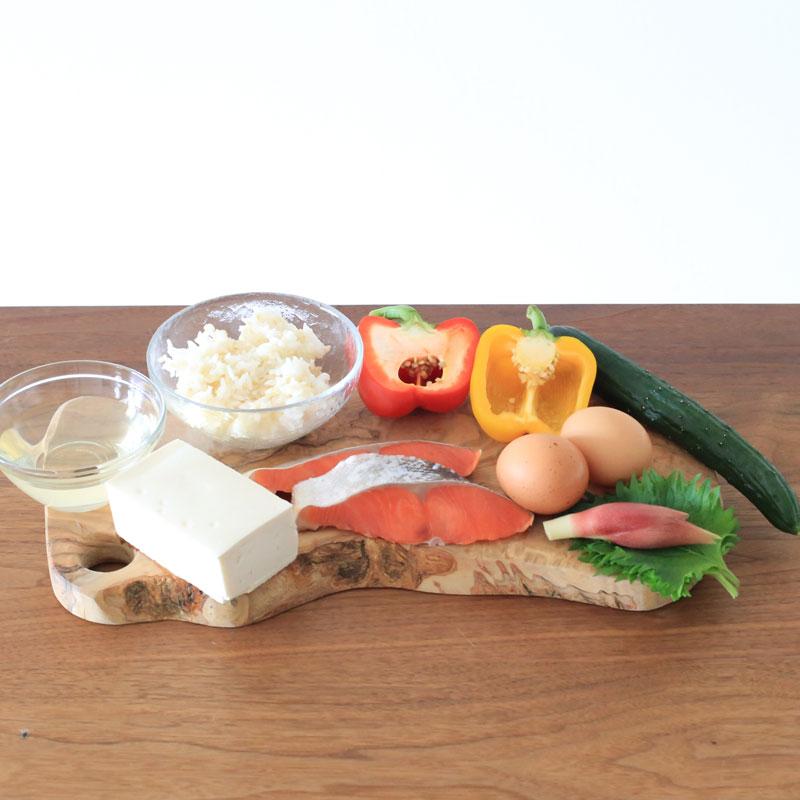 「鮭と卵と豆腐の高たんぱくちらし寿司」材料
