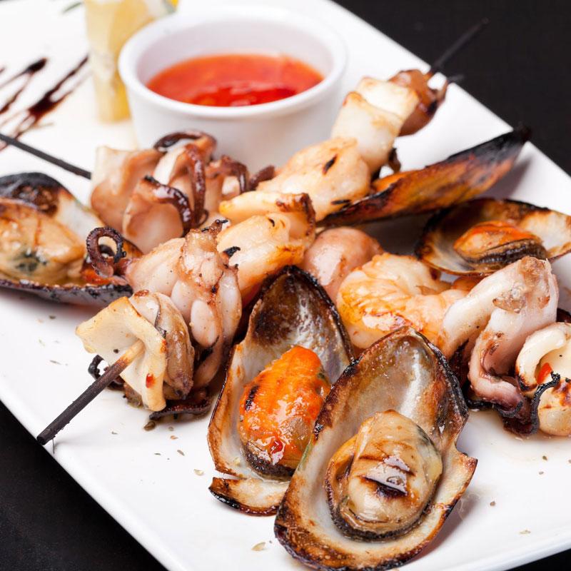 焼かれた魚貝類