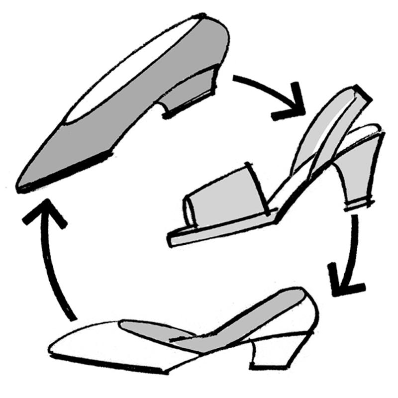 3足の靴を順番に履いていくイメージイラスト