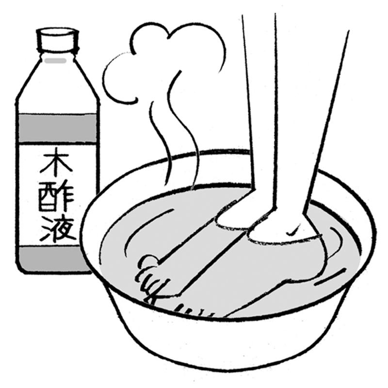 洗面器にはった木酢液が入ったお湯に足をつけているイラスト