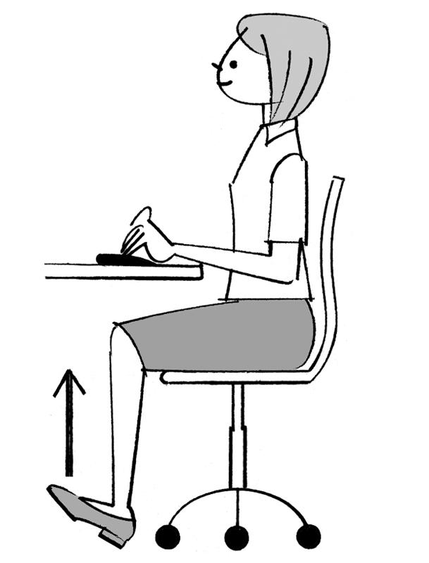 デスクワークをしながらつま先を上げている女性のイラスト