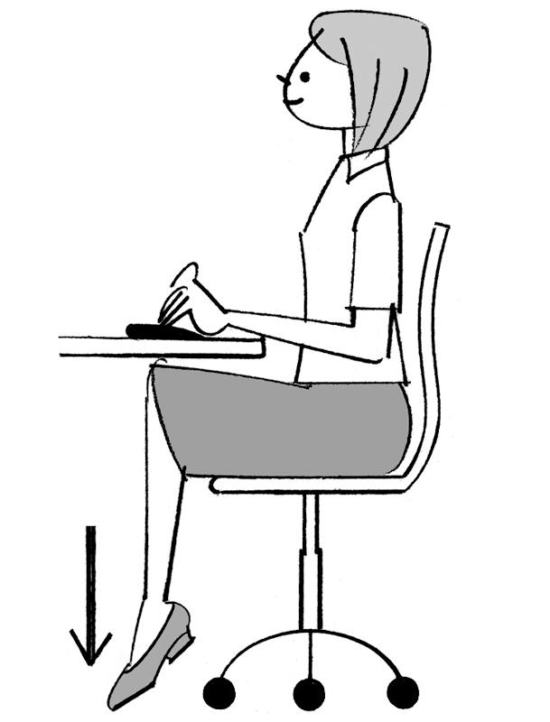 デスクワークをしながらつま先を下げている女性のイラスト