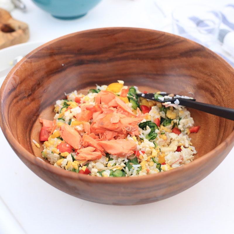 「鮭と卵と豆腐の高たんぱくちらし寿司」