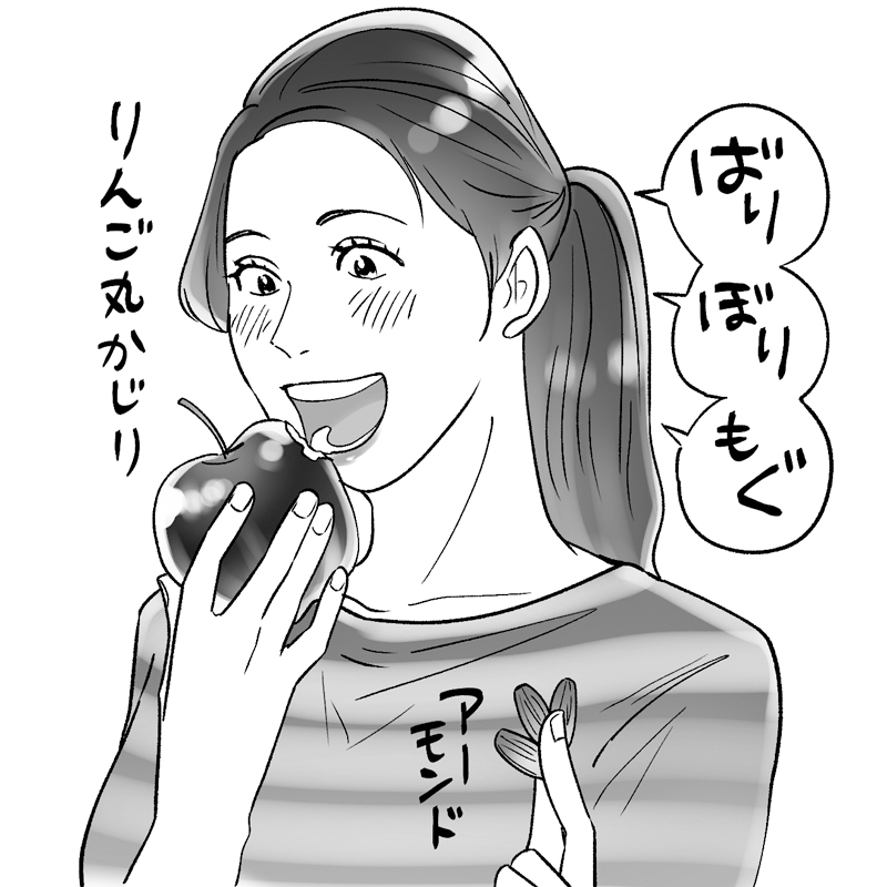 りんごを丸かじりする女性のイラスト