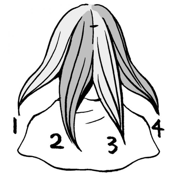 髪の乾かし方を示したイラスト