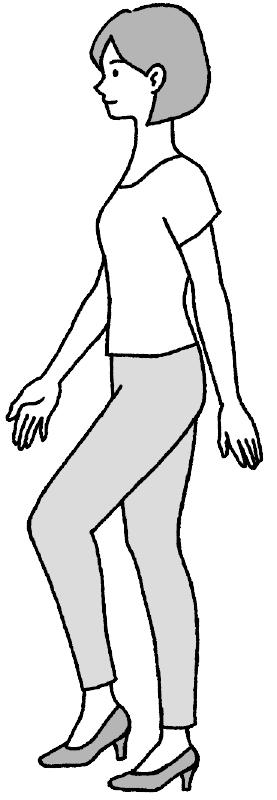 きちんと立った姿勢から、左足を踏み出す女性のイラスト
