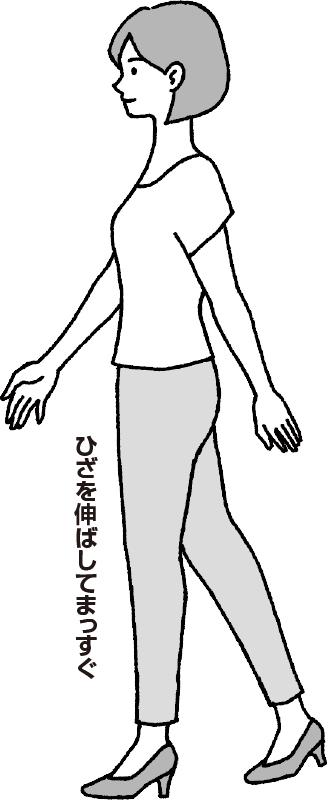 左足のひざをまっすぐ伸ばして後ろ右足を蹴り出す女性のイラスト