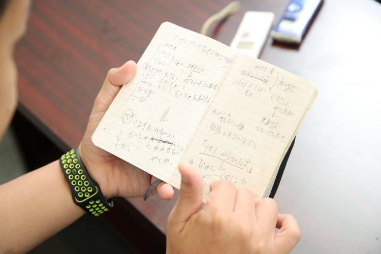 手帳を見つめるはんにゃ川島章良
