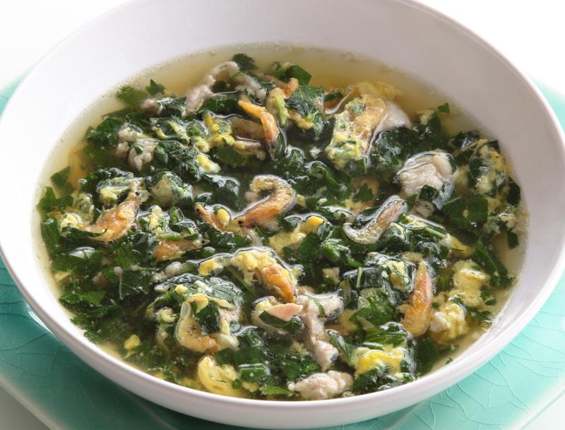 モロヘイヤとかきたまの骨元気スープ