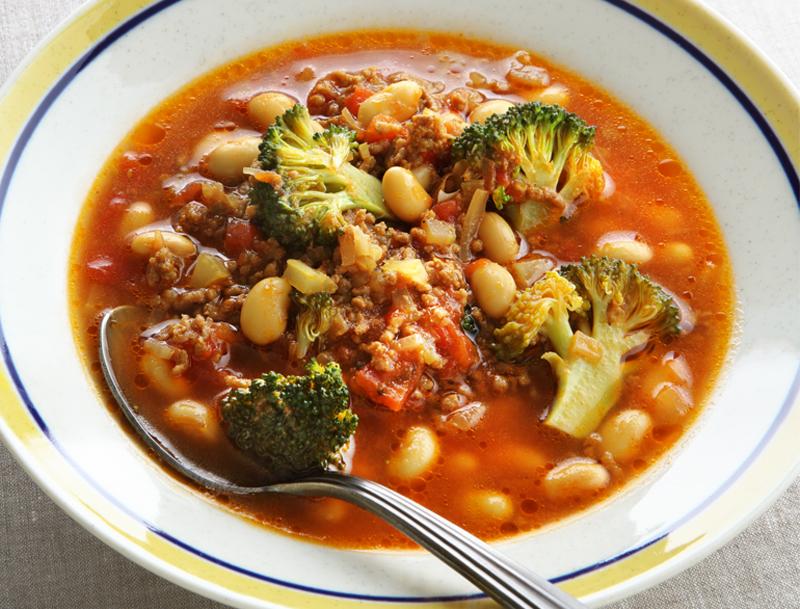 カレー風味の大豆 高血圧予防チリコンカンスープ