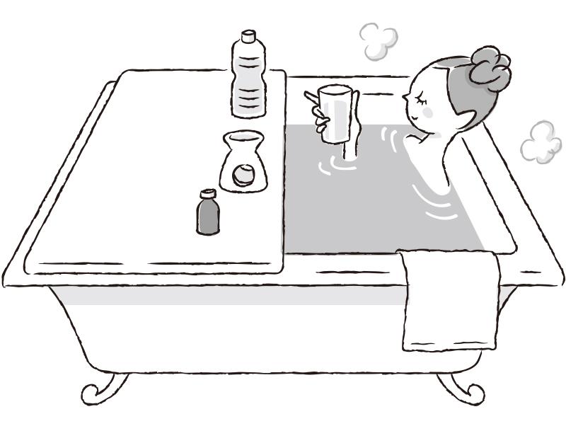女性がお風呂に入っているイラスト