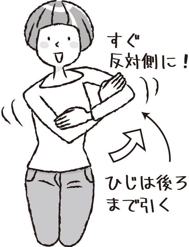 【3】 同じように、両腕をすぐ反対側にスイングさせる。この動作を左右交互に各10回行う。