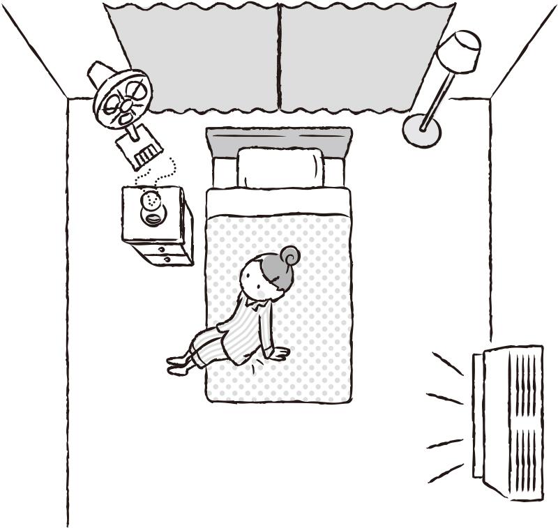 夏の快眠のための部屋づくりを表現したイラスト