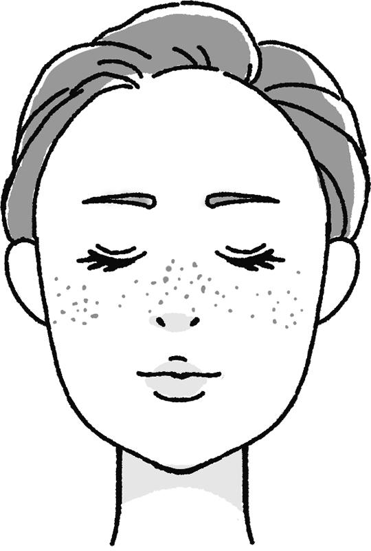 雀卵斑・そばかすのある女性の顔のイラスト
