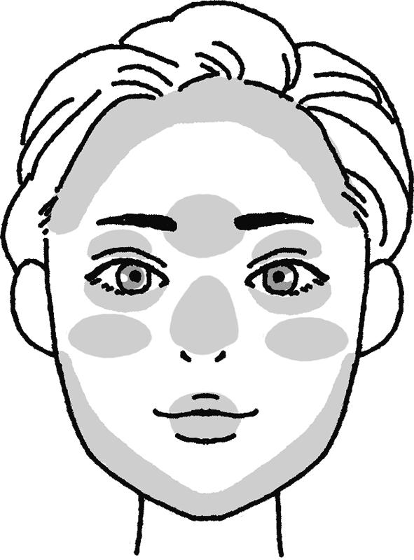 日焼け止めを塗り損ねやすい箇所を表した女性の顔