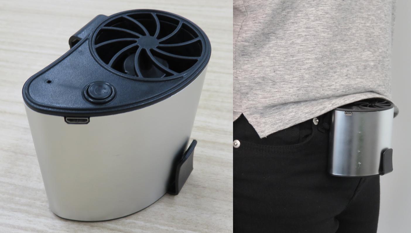ミニ扇風機本体と腰に商品を装着している女性