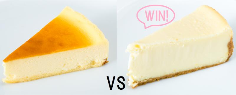 ベイクドチーズケーキとレアチーズケーキをを並べて比較している