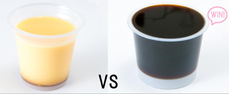プリントコーヒーゼリーを並べて比較している