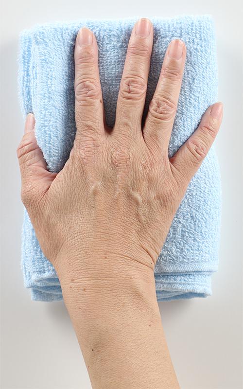 台ふきんは手のひらサイズにする