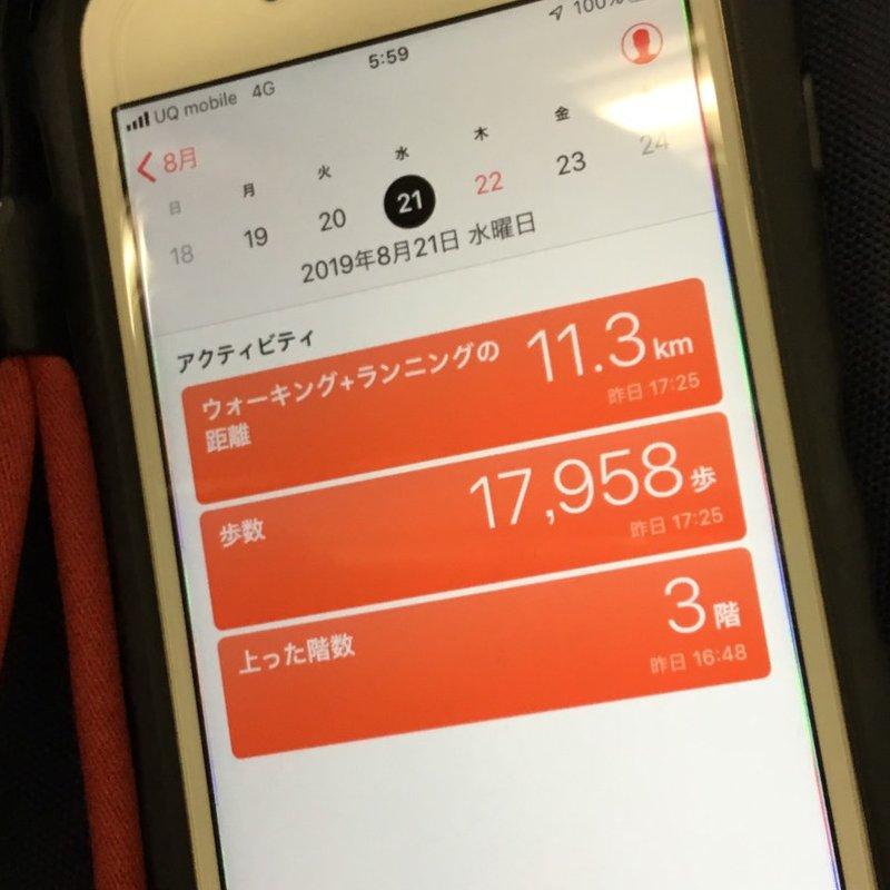 スマホの画面に歩数計の表示がされている