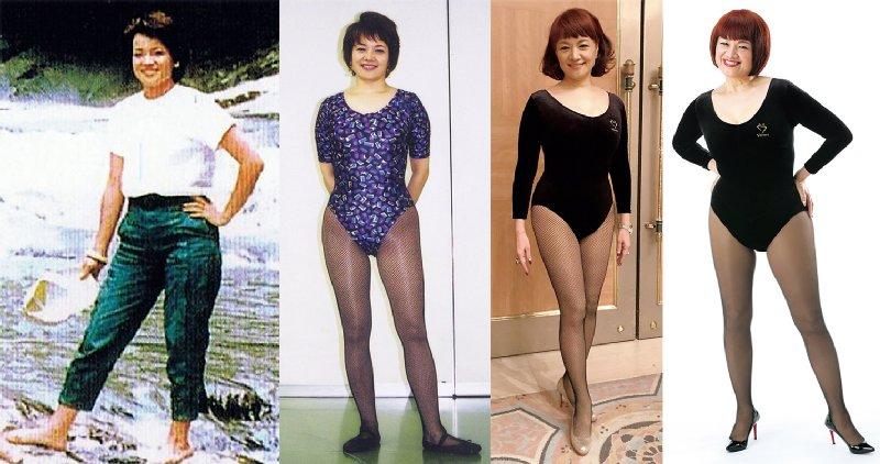 左から、31才、53才、68才、現在の吉丸さんの全身写真
