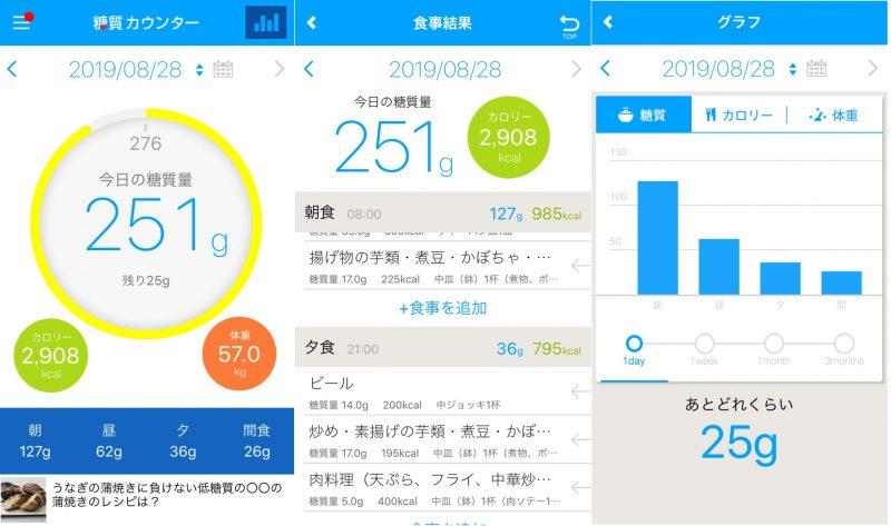 ダイエットアプリ「糖質カウンター」の使用例画面3枚
