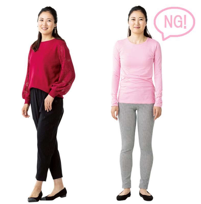濃いピンクのトップスに黒のパンツとパンプスを履いた女性、薄いピンクのぴったりしたトップスにレギンスを合わせた女性が並んでいる