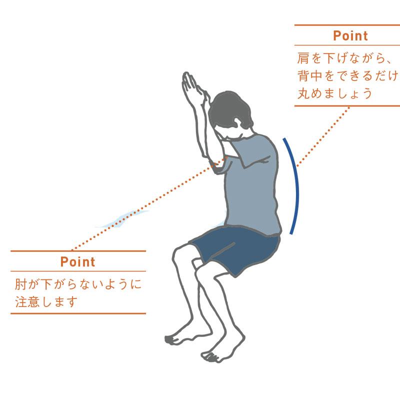 肩こりを撃退するイーグルポーズのイラスト