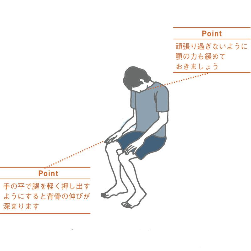 固まった背骨を柔らかく使う!座ったままキャット&カウ