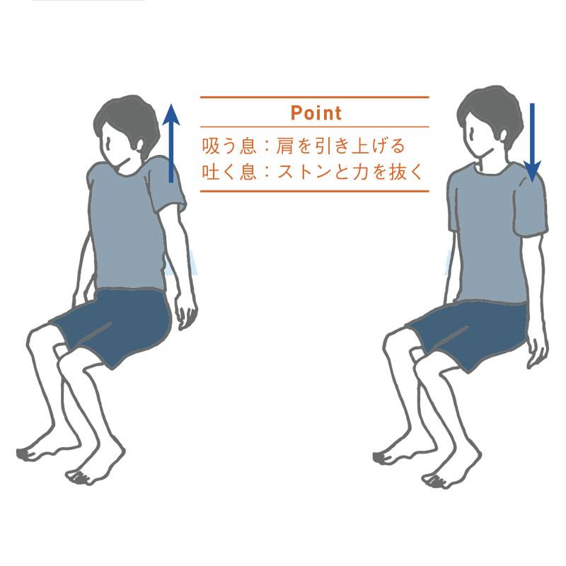 肩の力を一気に抜く肩上げストレッチのイラスト
