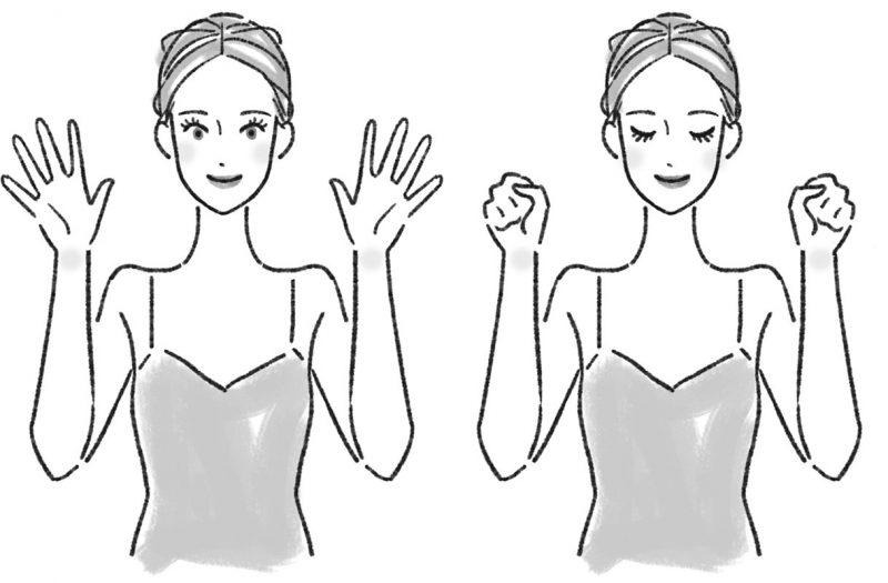 両手をグーにした女性とパーにした女性のイラスト